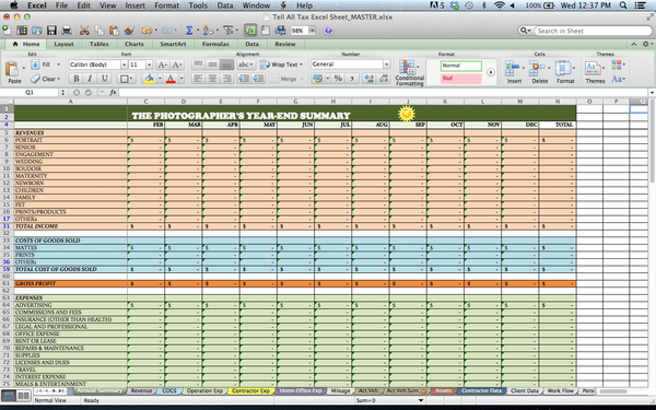 tax spreadsheets for photographers creative highway